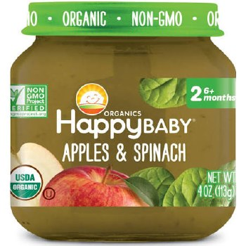 Happy Baby Apples & Spinach Baby Food, 4 oz.
