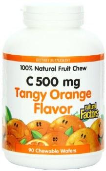 Natural Factors Vitamin C Tangy Orange Chews, 500mg, 90 wafers