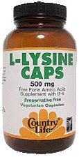 Country Life L-Lysine Caps with B-6 500 milligrams 250 vegetarian capsules