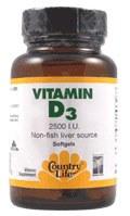 Country Life Vitamin D3 2500 IU, 60 soft gels