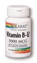 Solaray Vitamin B-12 5000mcg 30 lozenges