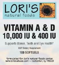 Lori's Vitamin A & D 10000iu 400iu 250 soft-gels