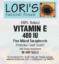 Lori's Vitamin E 400iu 30 soft-gels