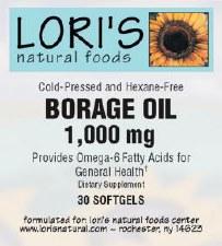 Lori's Borage Oil 1000mg 30 soft-gels