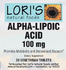 Lori's Alpha Lipoic Acid 100mg 30 vegetarian tablets