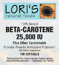 Lori's Beta-Carotene 25000iu 100 soft-gels