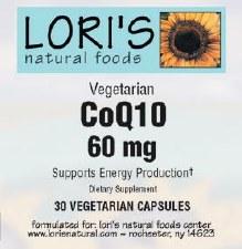 Lori's CoQ10 60mg 30 capsules