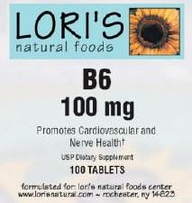 Lori's Vitamin B6 100mg 100 tablets