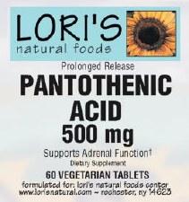 Lori's Pantothenic Prolonged Release 500mg 60 vegetarian tablets