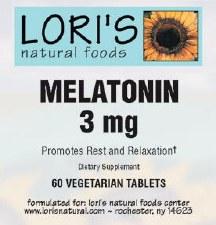 Lori's Melatonin 3mg 60 vegetarian tablets