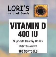 Lori's Vitamin D 400iu 100 soft-gels