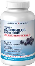 American Health Blueberry Chewable Acidopholus and Bifidum, 100 wafers