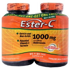 American Health Ester-c 1000mg with Citrus Bioflavonoids, 90 + 90 free capsules