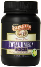 Barlean's Total Omega 3-6-9, 90 lemon flavored soft gels