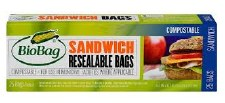 Biobag Compostable Sandwich Bags, 25 count
