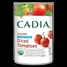 Cadia Organic No Salt Added Dices Tomatoes, 14.5 oz.