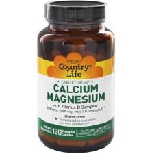 Country Life Target- Mins Calcium Magnesium with Vitamin D Complex, 120 vegan capsules