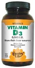 Country Life Vitamin D3 5000 IU, 60 soft gels