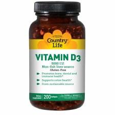 Country Life Vitamin D3 5000 IU, 200 soft gels