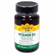 Country Life Vitamin D3 10,000 IU, 60 soft gels