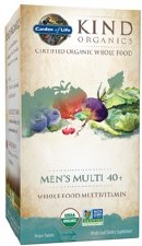 Garden of Life Kind Organics Men's Multi 40+ Whole Food Multivitamin, 60 vegan tablets