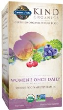 Garden of Life Kind Organics Women's Once Daily Whole Food Multivitamin, 30 vegan tablets