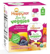 Happy Baby Banana, Beet, Squash & Blueberry Love My Veggies Veggie & Fruit Blend, 4.22 oz.