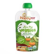 Happy Baby Spinach, Apple, Sweet Potato & Kiwi Love My Veggies Veggie & Fruit Blend, 4.22 oz.