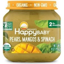 Happy Baby Pears, Mangos & Spinach Baby Food, 4 oz.