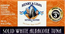 Henry & Lisa's Sashimi Grade Fully Cooked Tenderloin Solid White Albacore Tuna, 5 oz.