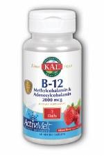 KAL B-12 Mixed Berry Taste Methylcobalamin & Adenosylcobalamin, 60 tablets