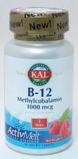 KAL B-12 Methylcobalamin, Red Raspberry ActivMelt, 1000mcg, 90 tablets