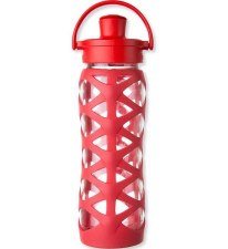 Life Factory Glass Bottle with Active Flip Cap & Red Silicone Sleeve, 16 oz.