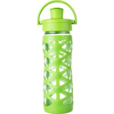 Life Factory Glass Bottle with Active Flip Cap & Lime Silicone Sleeve, 16 oz.