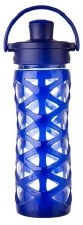 Life Factory Glass Bottle with Active Flip Cap & Saphire Silicone Sleeve, 16 oz.