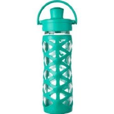 Life Factory Glass Bottle with Active Flip Cap & Aquatic Green Silicone Sleeve, 16 oz.