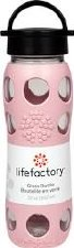 Life Factory Desert Rose Silicone Sleeve Glass Bottle with Classic Cap, 22 oz.