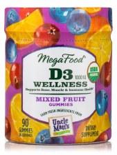 MegaFood D3 Wellness Mixed Fruit Gummies, 90 gummies