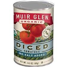 Muir Glen Organic No Salt Added Diced Tomatoes, 14.5 oz.