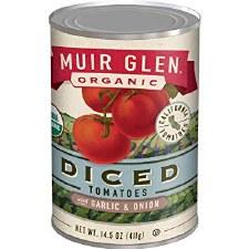 Muir Glen Organic Diced Tomatoes with Garlic & Onion, 14.5 oz.