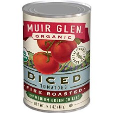 Muir Glen Diced Fire Roasted Tomatoes with Medium Green Chilies, 14.5 oz.