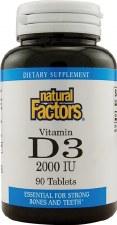 Natural Factors Vitamin D3, 2000IU, 90 tablets