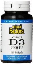 Natural Factors Vitamin D3, 2000IU, 120 soft gels
