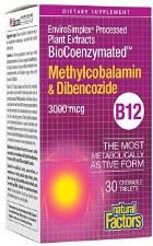 Natural Factors BioCoenzymated Methylcobalamin & Dibercozide B12, 30 tablets