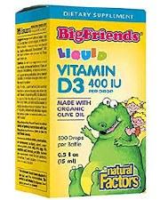 Natural Factors Big Friends Vitamin D3 Liquid, .5 oz.