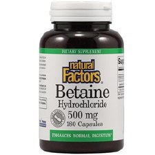 Natural Factors Betaine Hydrochloride, 500mg, 180 capsules