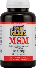 Natural Factors MSM, 1000mg, 180 capsules
