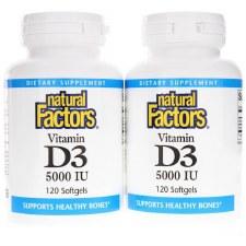 Natural Factors Vitamin D3 5000 IU Bonus Pack, 240 soft gels