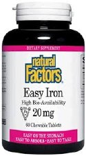 Natural Factors Easy Iron 20 mg, 60 tablets