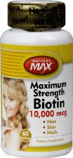 Natural Max Maximum Strength Biotin, 10,000mcg, 60 vegetarian capsules